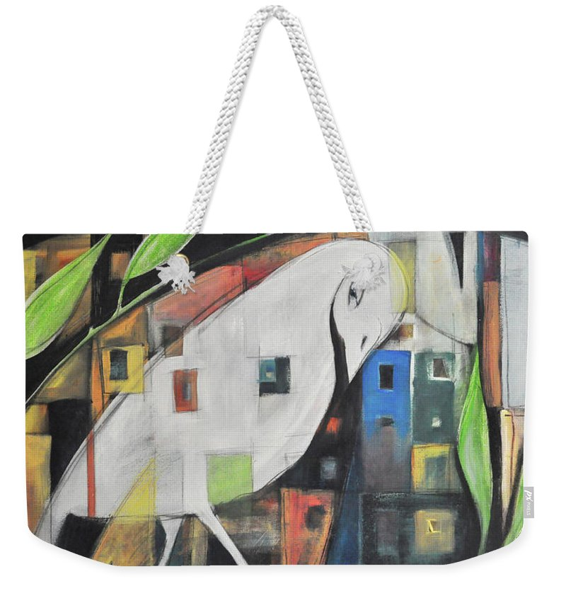 Bird Weekender Tote Bag featuring the painting City Strut by Tim Nyberg