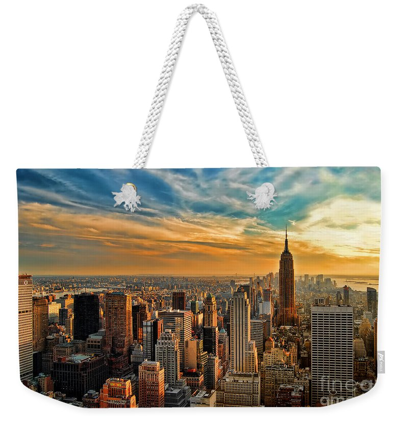 New York City Weekender Tote Bag featuring the photograph City Sunset New York City Usa by Sabine Jacobs