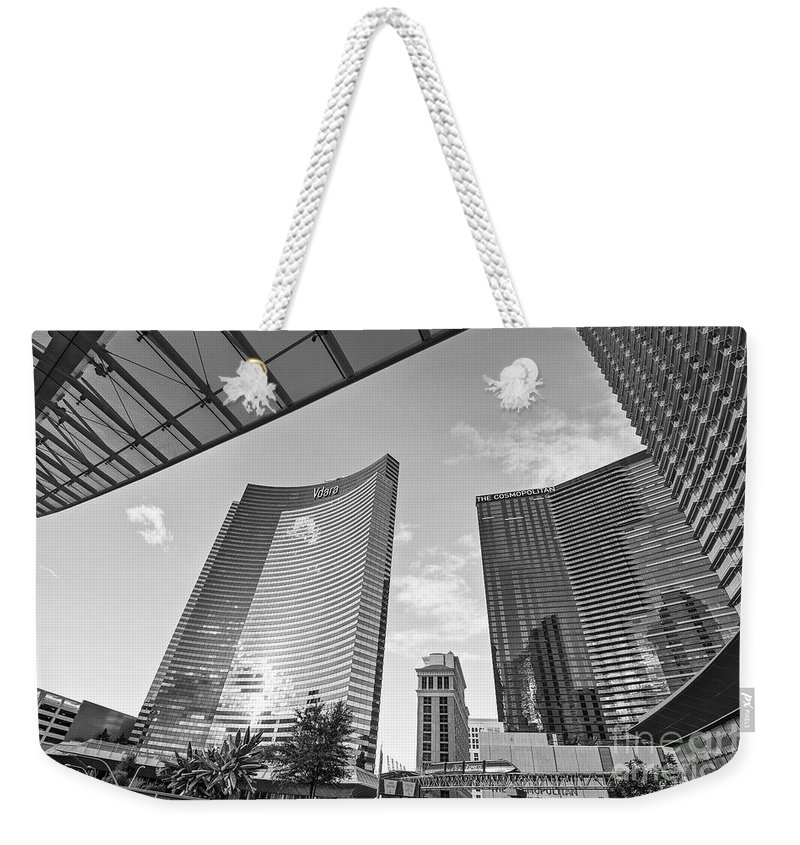 Vdara Hotel And Spa Weekender Tote Bag featuring the photograph Citycenter - View Of The Vdara Hotel And Spa Located In Citycenter In Las Vegas by Jamie Pham