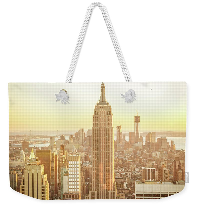 Scenics Weekender Tote Bag featuring the photograph Cityscape Manhattan Sunset New York by Mlenny