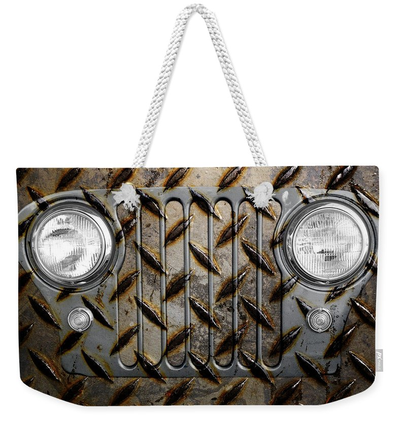 Jeep Weekender Tote Bag featuring the photograph Civilian Jeep- Steel Gray by Luke Moore