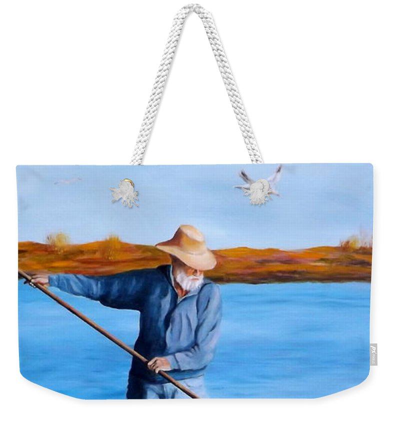Coastal Weekender Tote Bag featuring the painting Clam Digger by Gino Didio