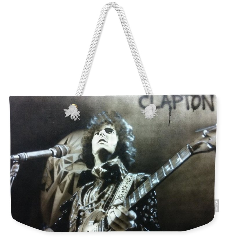 Eric Clapton Weekender Tote Bag featuring the painting Clapton by Christian Chapman Art