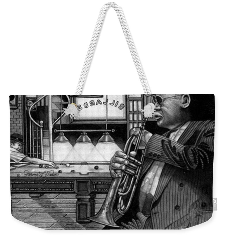 Jazz Weekender Tote Bag featuring the painting Jazz Clark Terry by JL Vaden