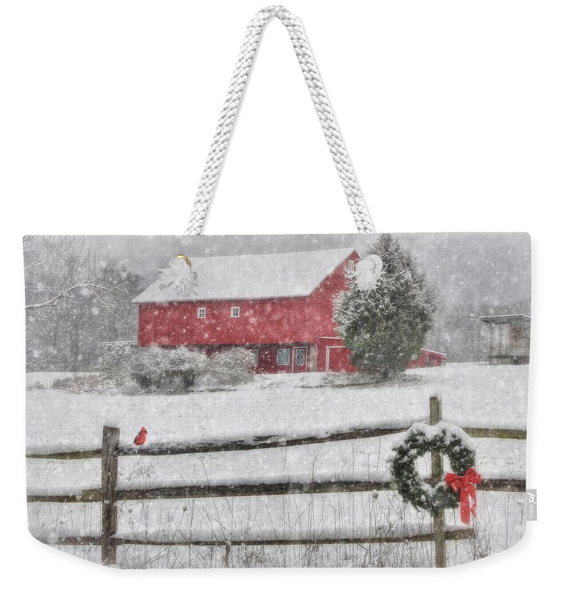 Red Barn Weekender Tote Bag featuring the photograph Clarks Valley Christmas 2 by Lori Deiter
