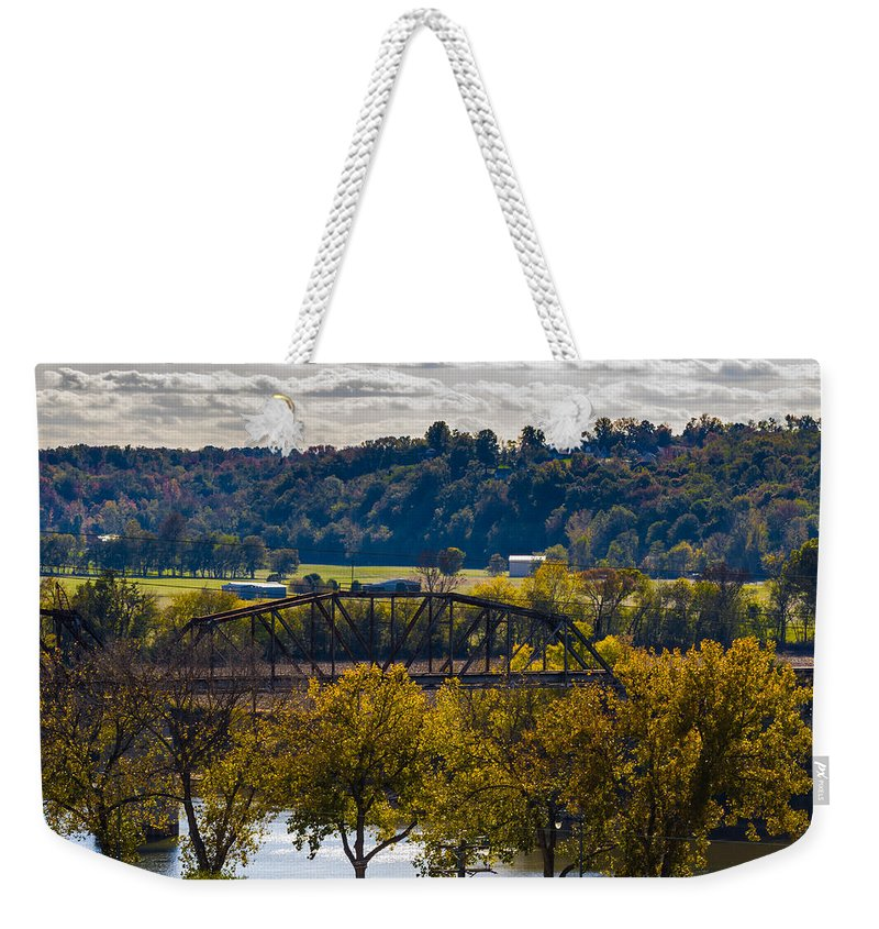 Bridge Weekender Tote Bag featuring the photograph Clarksville Railroad Bridge by Ed Gleichman