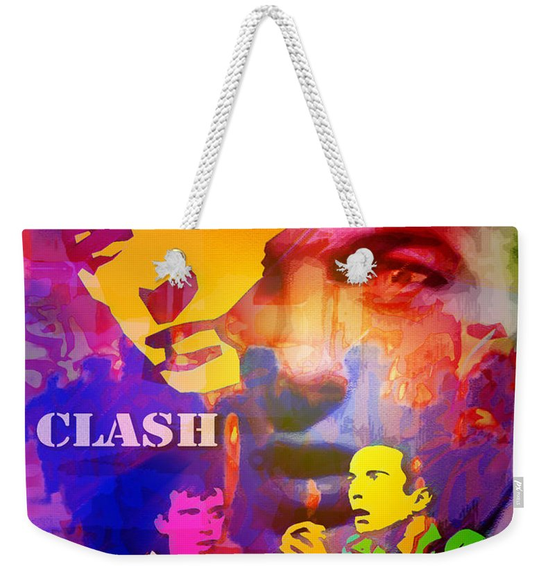 Punk Weekender Tote Bag featuring the painting Clash Know Your Rights by Neil Finnemore