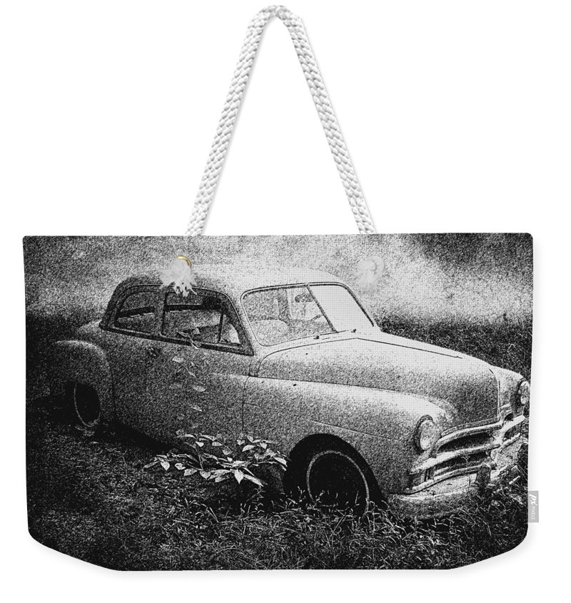 2d Weekender Tote Bag featuring the photograph Clasic Car - Pen And Ink Effect by Brian Wallace