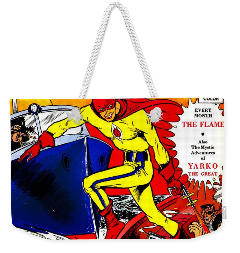 Classic Comic Book Cover - Wonderworld Comics The Flame - 1028 Weekender  Tote Bag
