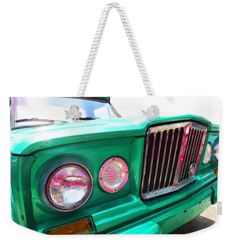 Jeep Weekender Tote Bag featuring the painting Classic Jeep J3000 4 Wheel Drive By Sharon Cummings by Sharon Cummings