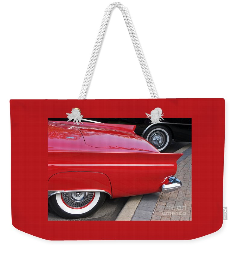 Classic Car Weekender Tote Bag featuring the photograph Classic Red And Black by Ann Horn