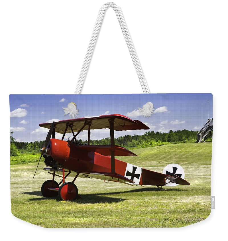 Red Barron Weekender Tote Bag featuring the photograph Classic Red Barron Fokker Dr.1 Triplane Photo by Keith Webber Jr