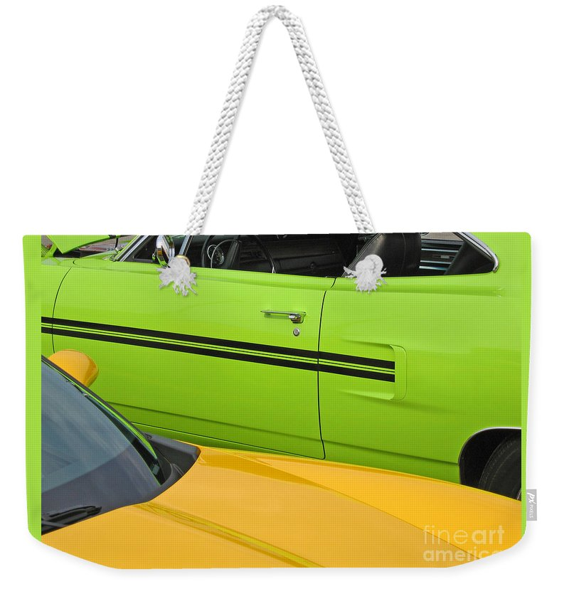 Car Weekender Tote Bag featuring the photograph Classy Classics by Ann Horn