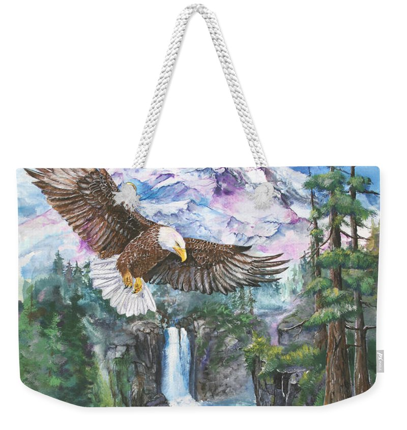 Eagle Weekender Tote Bag featuring the painting Cleared For Landing Mount Baker by Sherry Shipley