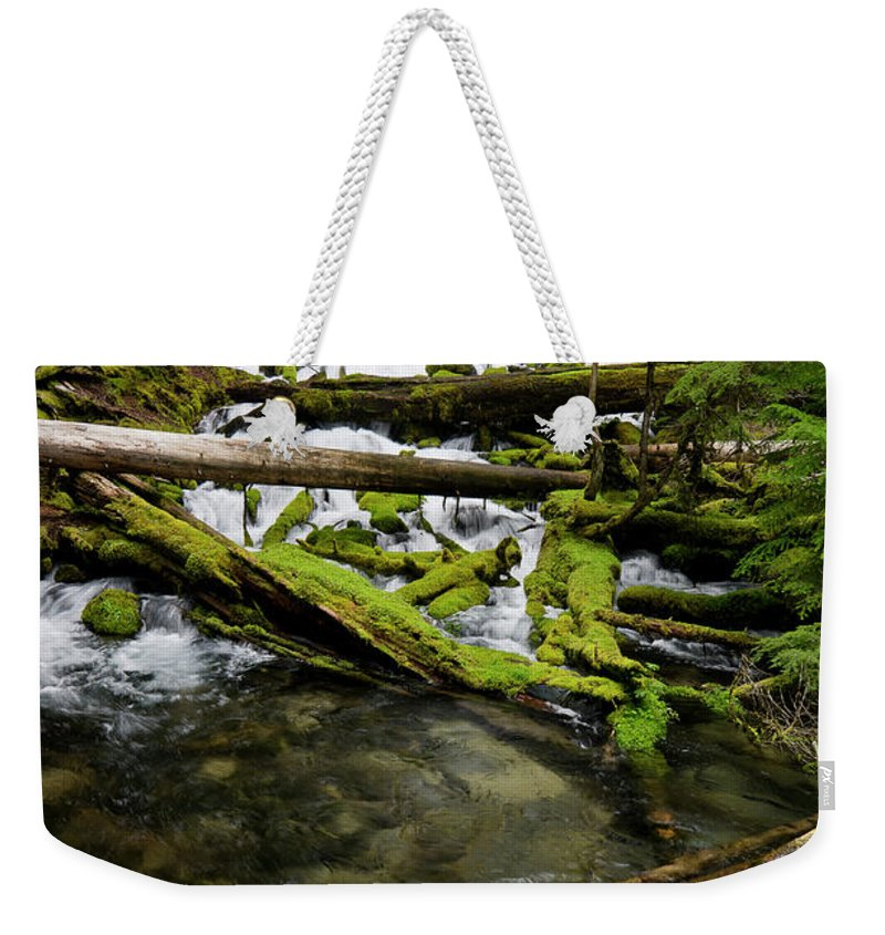 Cascades Weekender Tote Bag featuring the photograph Clearwater Falls by Greg Nyquist
