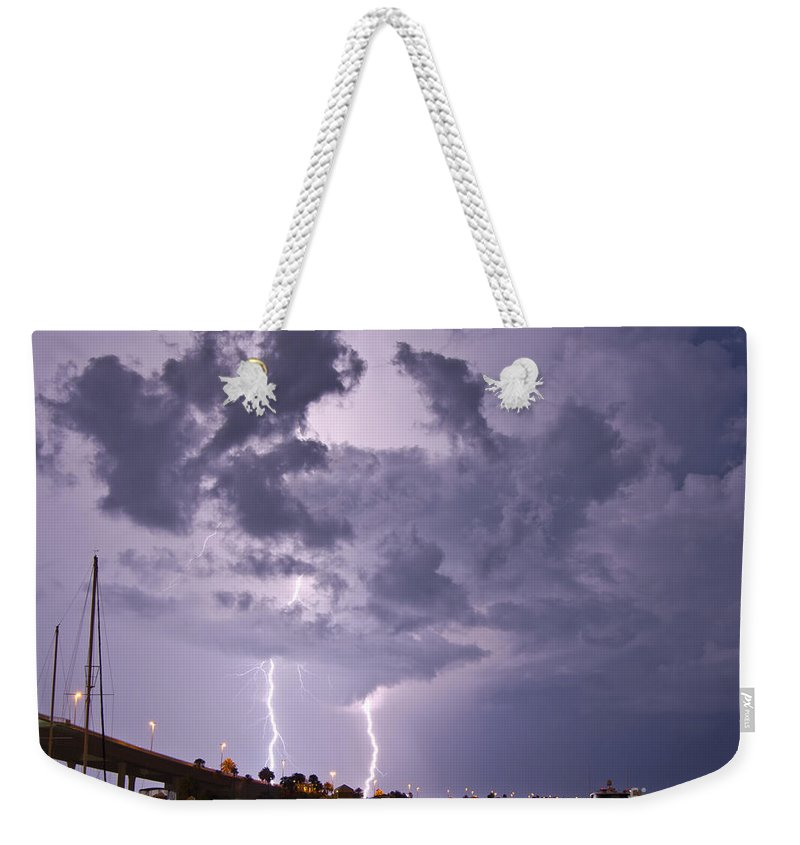 Florida Weekender Tote Bag featuring the photograph Clearwater Harbor by Stephen Whalen