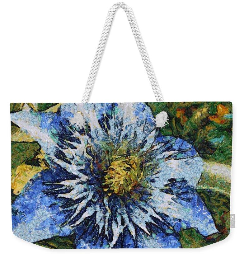 Bloom Weekender Tote Bag featuring the painting Clematis by Jeffrey Kolker