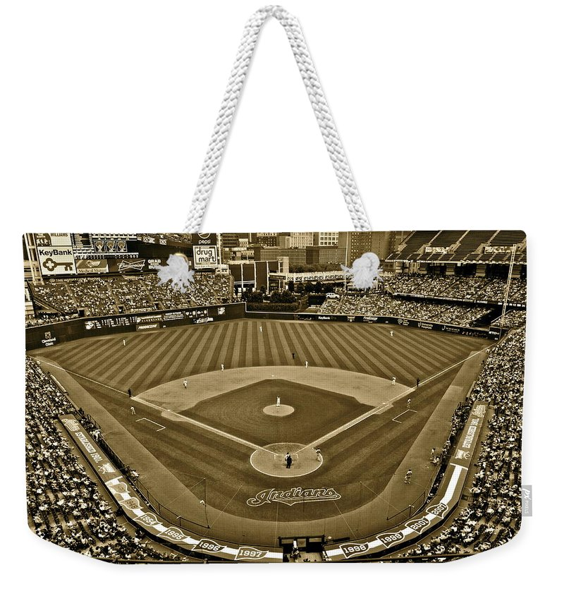 Sepia Weekender Tote Bag featuring the photograph Cleveland Baseball In Sepia by Frozen in Time Fine Art Photography