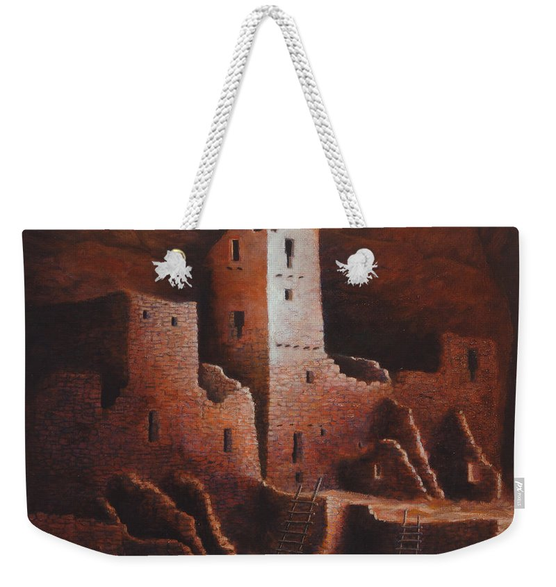 Anasazi Weekender Tote Bag featuring the painting Cliff Palace by Jerry McElroy