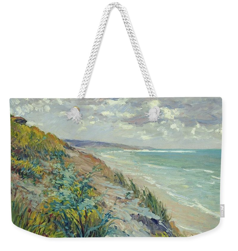 Beach Weekender Tote Bag featuring the painting Cliffs By The Sea At Trouville by Gustave Caillebotte