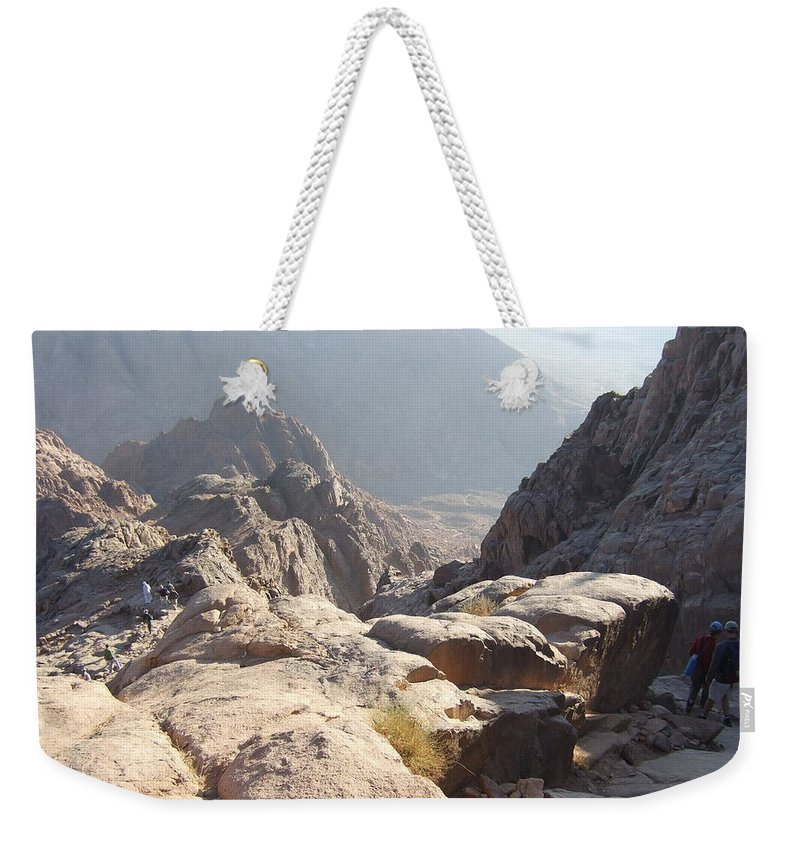 Egypt Weekender Tote Bag featuring the photograph Cliffs Of Mount Sinai by Katerina Naumenko