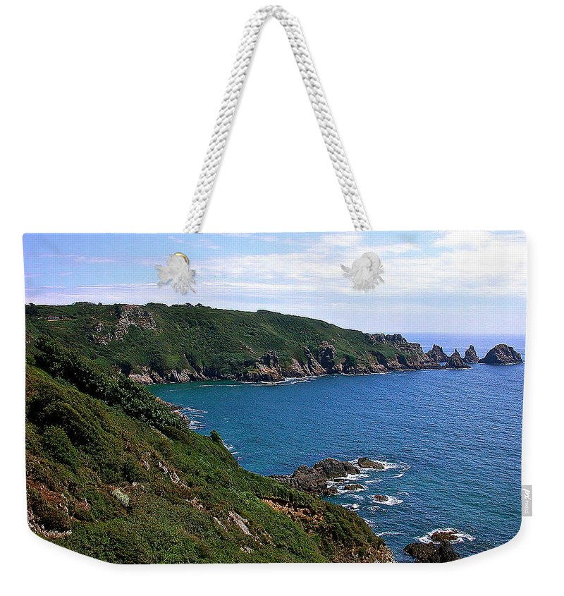 Guernsey Weekender Tote Bag featuring the photograph Cliffs On Isle Of Guernsey by Bellesouth Studio