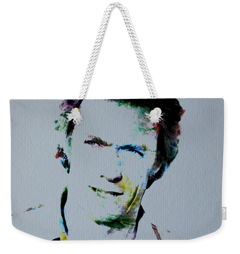 Clint Eastwood Weekender Tote Bag featuring the digital art Clint Eastwood 2 by Brian Reaves