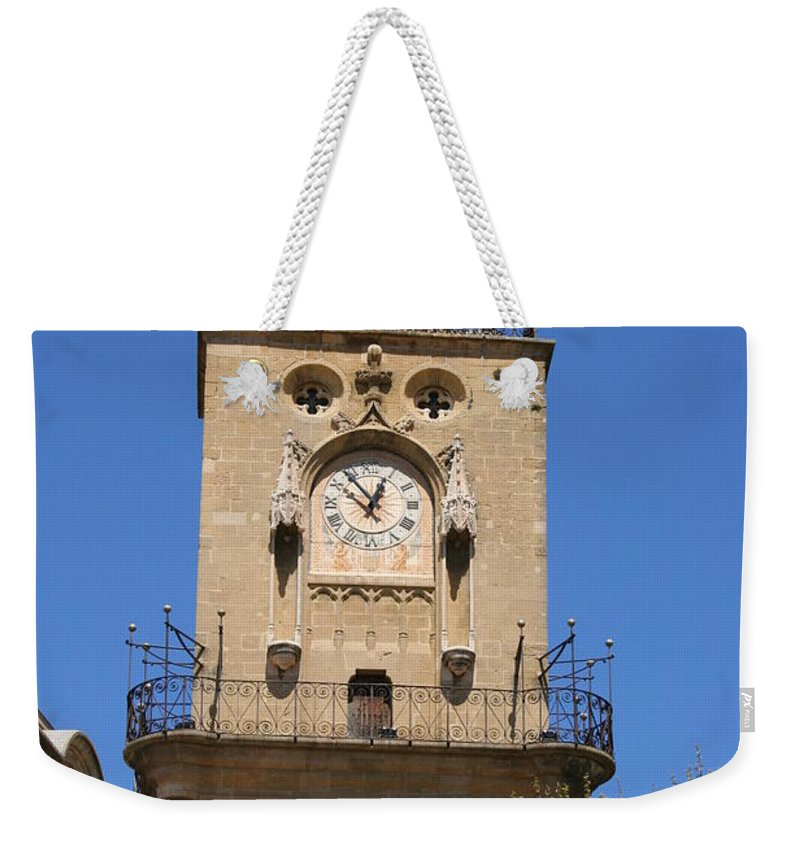 Clock Weekender Tote Bag featuring the photograph Clocktower - Aix En Provence by Christiane Schulze Art And Photography