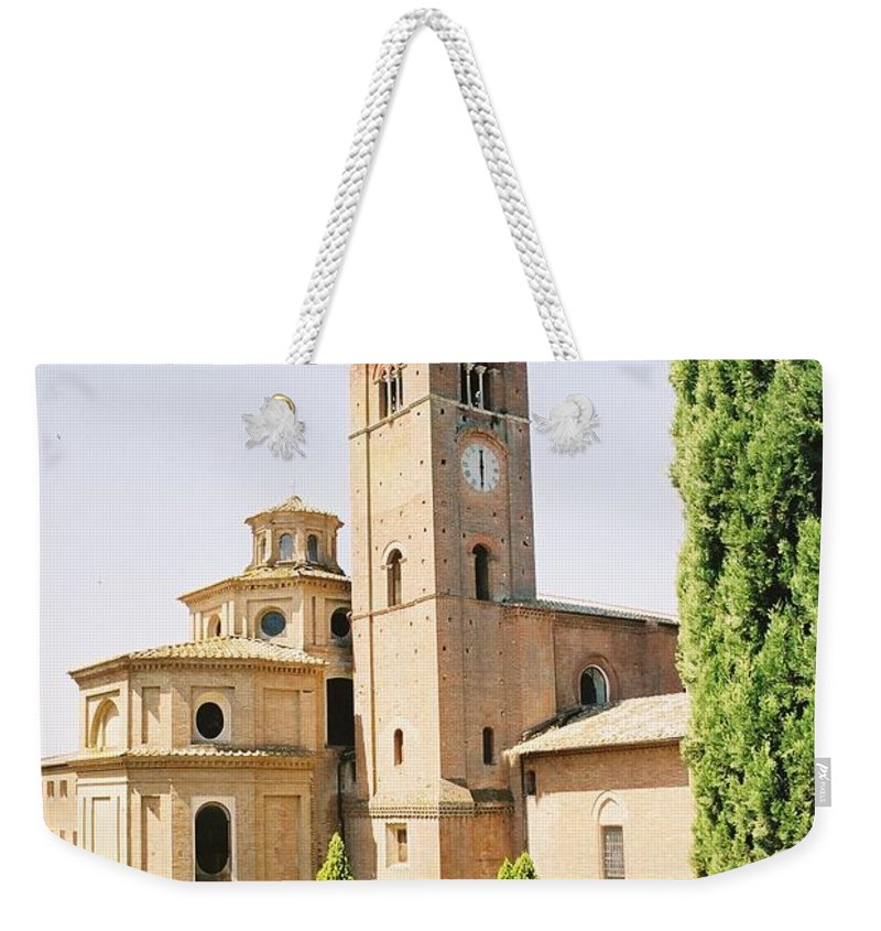 Cloister Weekender Tote Bag featuring the photograph Cloister Monte Oliveto Maggiore by Christiane Schulze Art And Photography