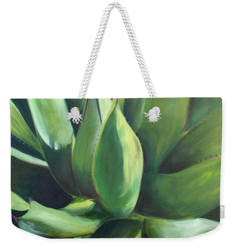 Cactus Weekender Tote Bag featuring the painting Close Cactus II - Agave by Debbie Hart