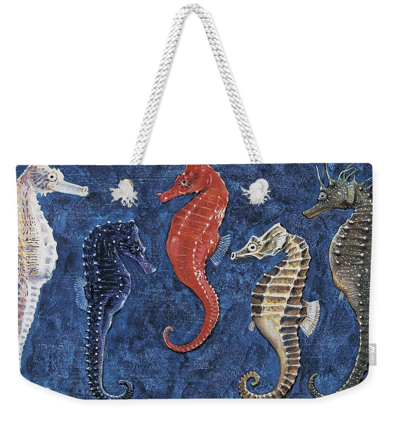 Biology; Zoology; Animalia Weekender Tote Bag featuring the drawing Close-up of five seahorses side by side by English School
