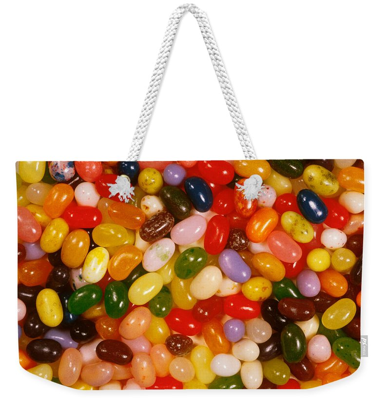 No People; Horizontal; Outdoors; Day; Upward View; Full Frame; Business; Food And Drink; Unhealthy Eating; Food And Drink Industry; Pattern; Abundance; Jellybean; Dessert; Candy; Multi Colored; Heap Weekender Tote Bag featuring the photograph Closeup Of Assorted Jellybeans by Anonymous