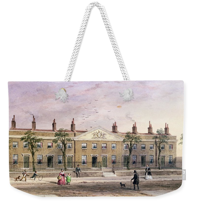 Architecture Weekender Tote Bag featuring the photograph Clothworkers Almhouses In Frog Lane Wc On Paper by Thomas Hosmer Shepherd