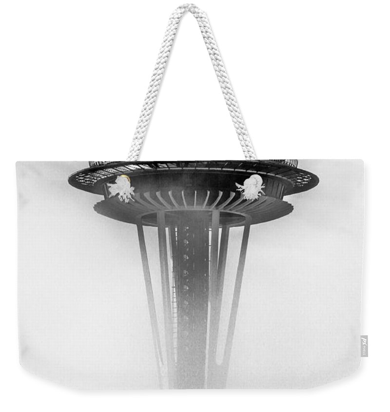 Space Needle Weekender Tote Bag featuring the photograph Cloud City 1962 by Benjamin Yeager