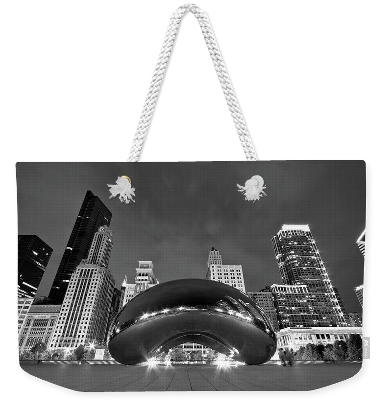 3scape Weekender Tote Bag featuring the photograph Cloud Gate and Skyline by Adam Romanowicz