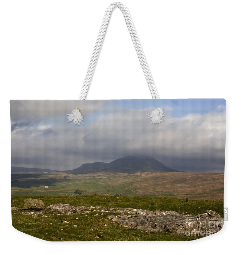Pen-y-ghent Ribblesdale Pen Y Ghent English British North Yorkshire Dales Limestone Mountain Mountains England Uplands Moor Moors Moorland Upland Hill Hills Fell Fells Cloud Cumulus Clouds Romantic Dramatic Wild Limestone Weekender Tote Bag featuring the photograph Cloud Streaming Across The Summit Of Pen-y-ghent Ribblesdale North Yorkshire England by Michael Walters