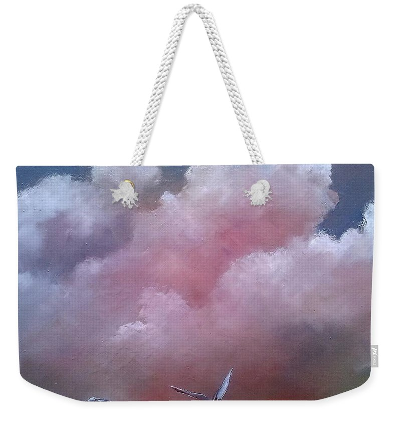 Clouds Weekender Tote Bag featuring the painting Clouds And Seagulls by Tomas Castano