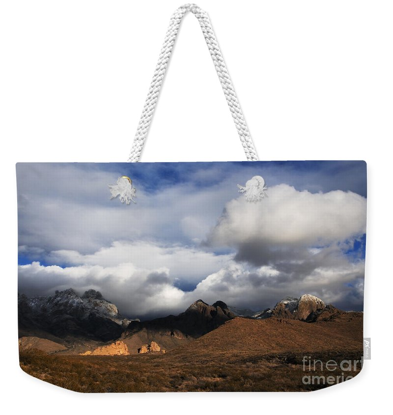 Las Cruces Weekender Tote Bag featuring the photograph Clouds Building Over The Organ Mountains by Vivian Christopher
