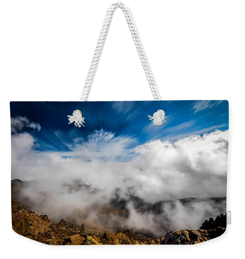 Volcano Weekender Tote Bag featuring the photograph Clouds In Haleakala by Gareth Burge Photography