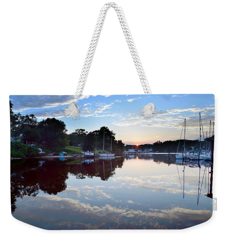 2d Weekender Tote Bag featuring the photograph Clouds In The Water by Brian Wallace