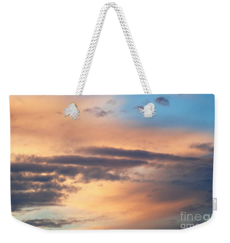 Blue Sky Weekender Tote Bag featuring the photograph Clouds by Optical Playground By MP Ray