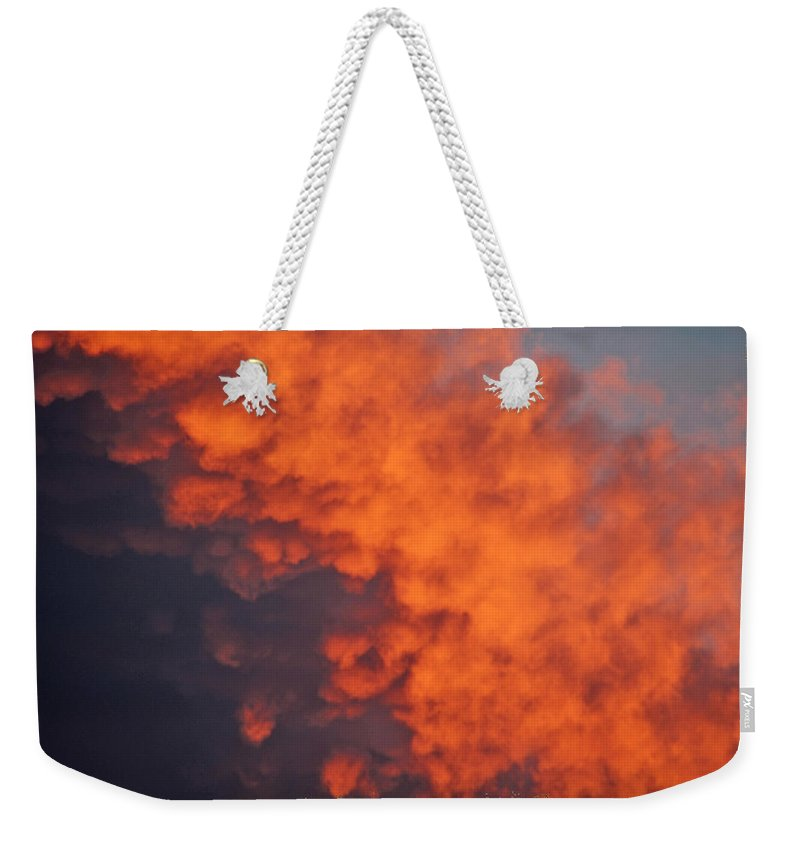 Sun Set Clouds Photographs Weekender Tote Bag featuring the photograph Clouds Of Fire by Mayhem Mediums
