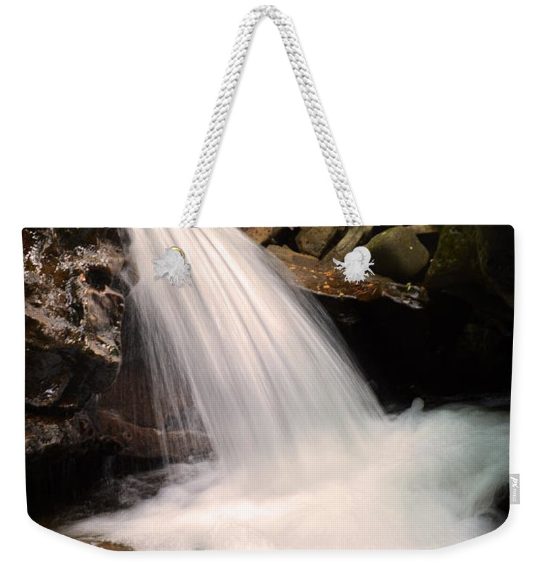 Waterfall Weekender Tote Bag featuring the photograph Clouds On The Creek by Lj Lambert