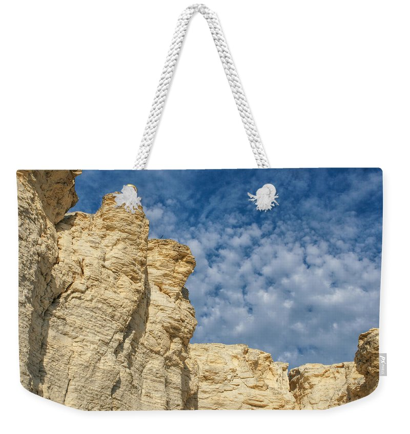 Chalk Pyramids Weekender Tote Bag featuring the photograph Clouds Over Chalk Pyramids by Alan Hutchins