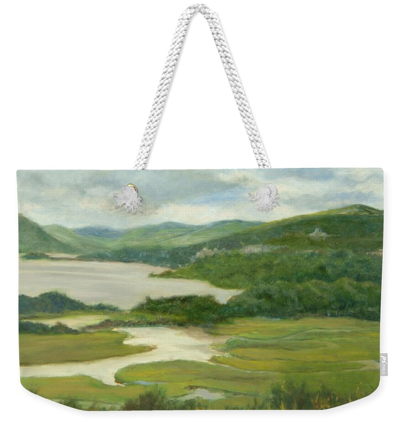 Oil Landscape Weekender Tote Bag featuring the painting Clouds Over Constitution Marsh by Phyllis Tarlow