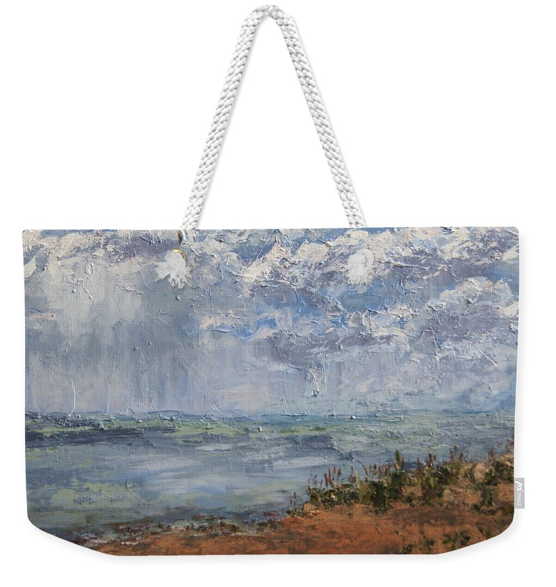 Beach Weekender Tote Bag featuring the painting Clouds Over Lake Michigan by Mary Haas
