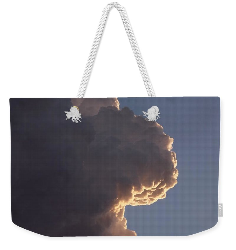 Face In The Cloud Weekender Tote Bag featuring the photograph Cloudy Face by Caryl J Bohn