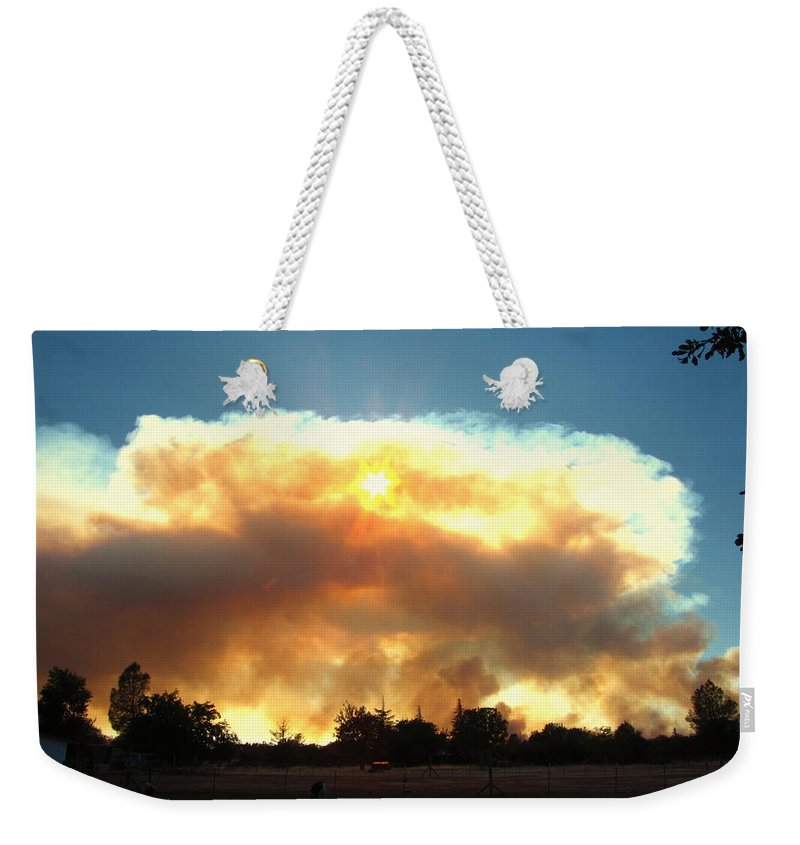 Fire Weekender Tote Bag featuring the photograph Clover Fire At 5 25 Pm by Joyce Dickens