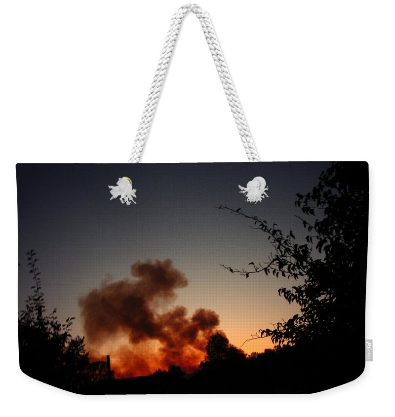 Fire Weekender Tote Bag featuring the photograph Clover Fire At Night by Joyce Dickens