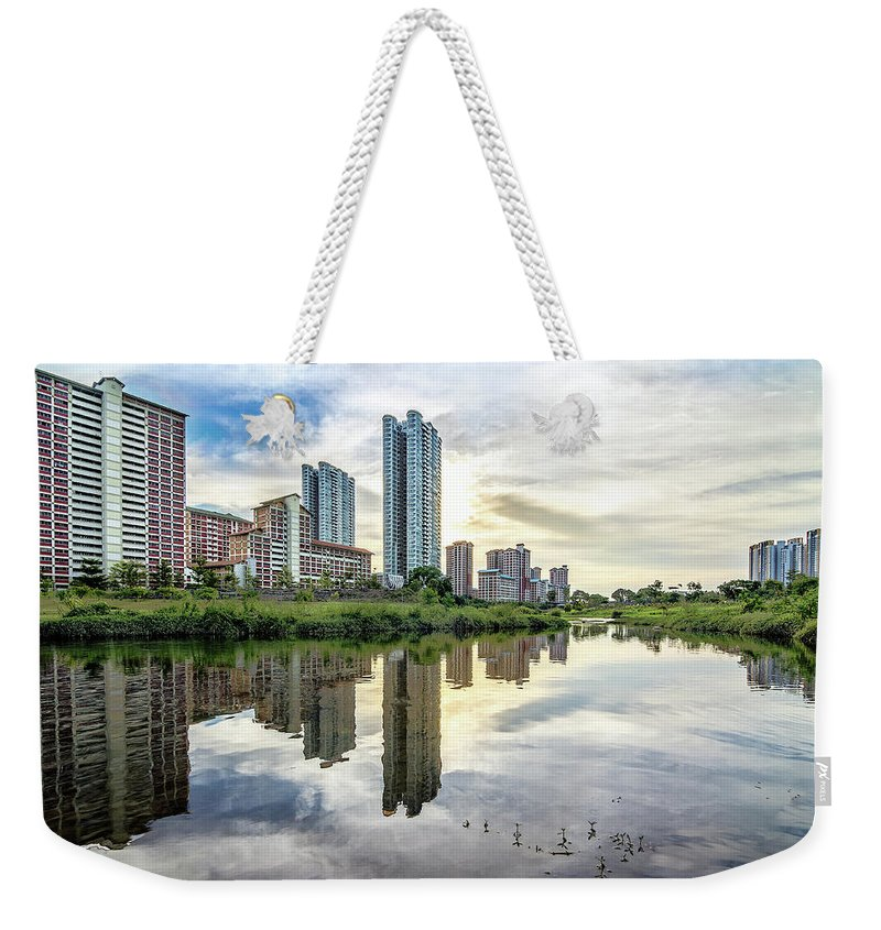 Standing Water Weekender Tote Bag featuring the photograph Clover Reflections by Tia Photography